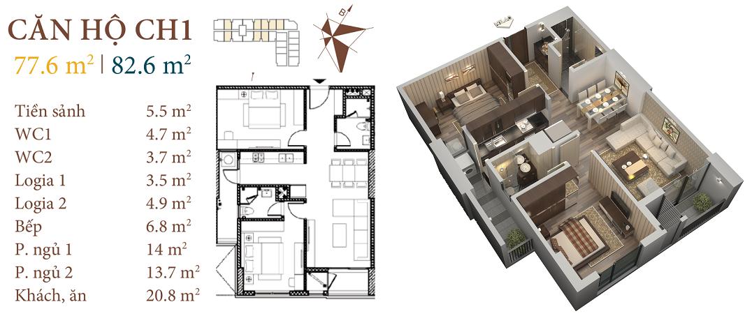 thiết kế chung cư roman plaza căn hộ ch1