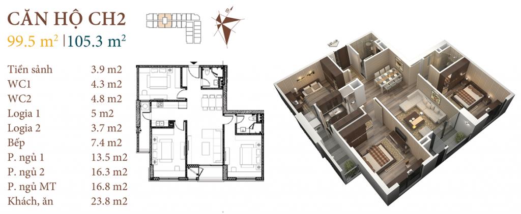 thiết kế chung cư roman plaza căn hộ ch2