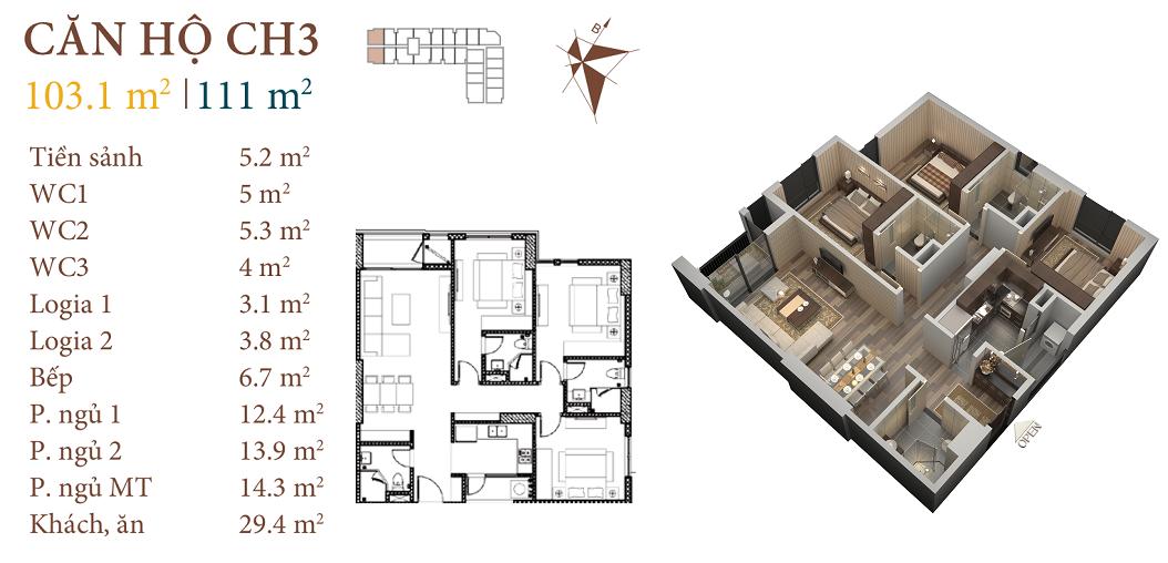 thiết kế chung cư roman plaza căn hộ ch3