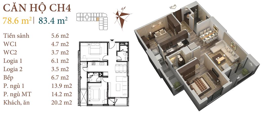 thiết kế chung cư roman plaza căn hộ ch4