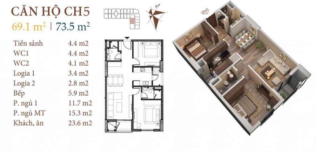 thiết kế chung cư roman plaza căn hộ ch5
