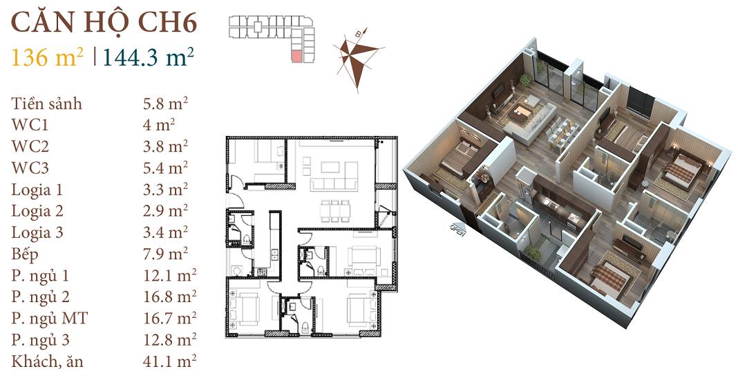 thiết kế chung cư roman plaza căn hộ ch6