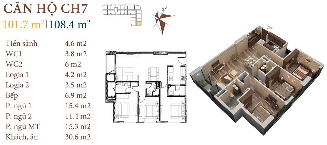 thiết kế chung cư roman plaza căn hộ ch7