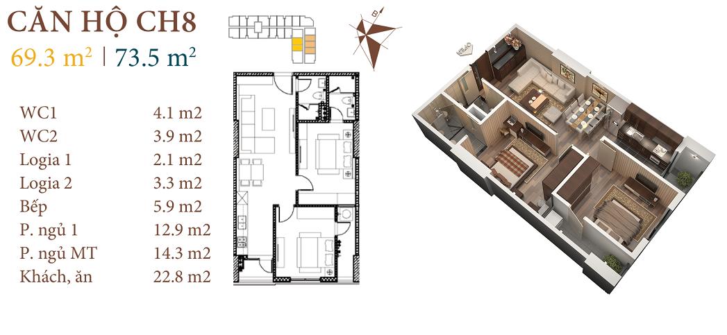 thiết kế chung cư roman plaza căn hộ ch8