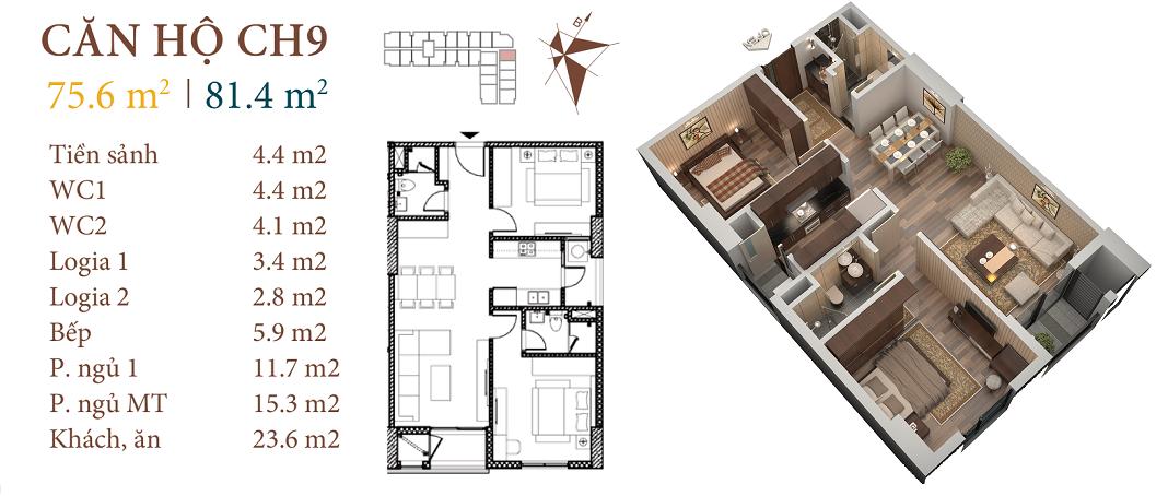 thiết kế chung cư roman plaza căn hộ ch9