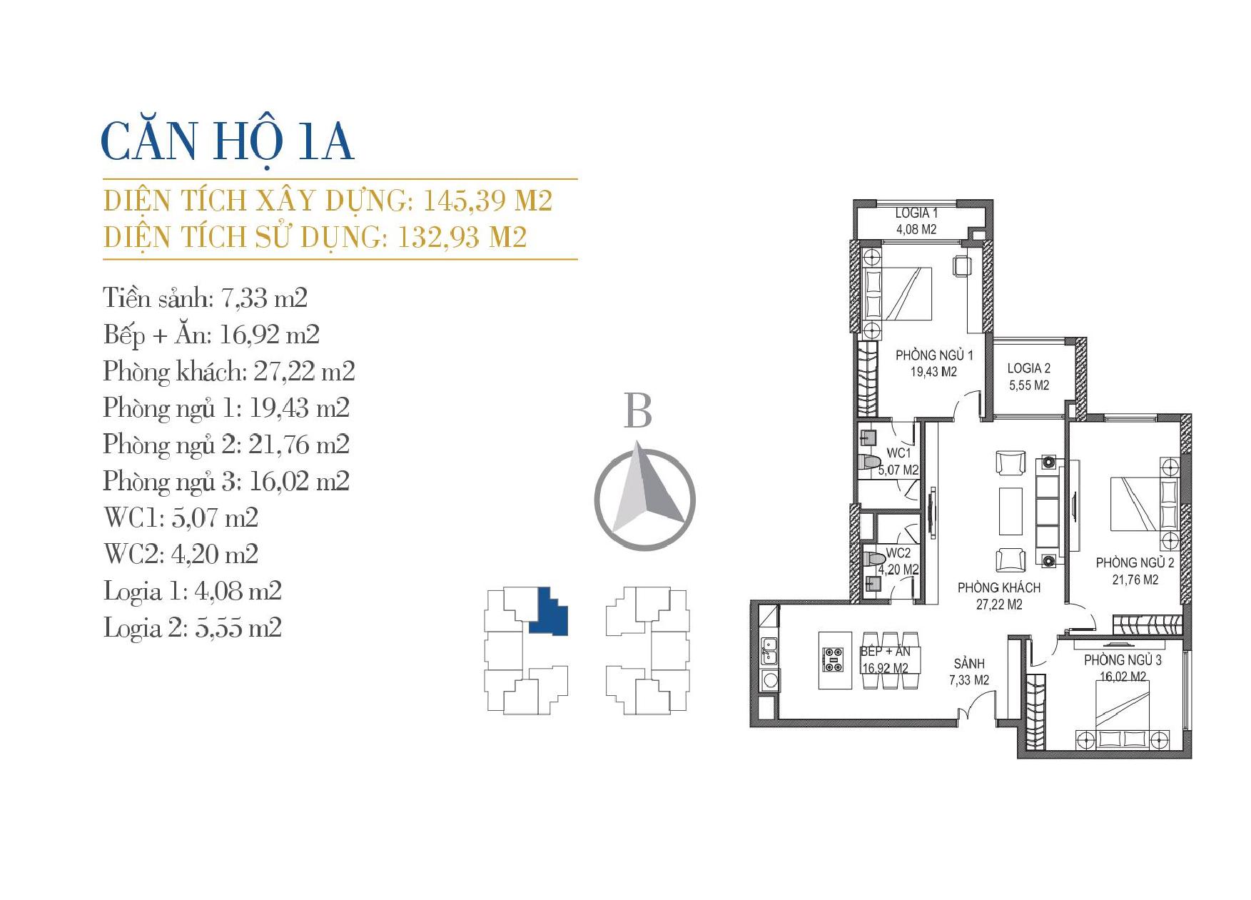 thiết kế căn hộ 1a chung cư sunshine center