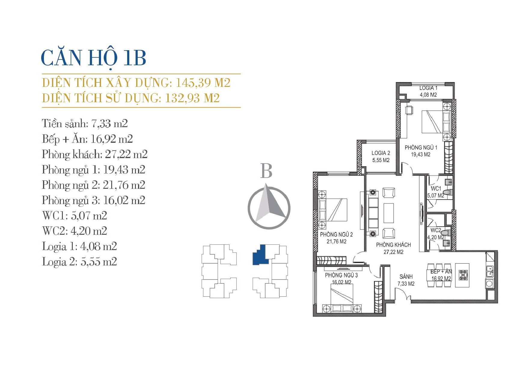 thiết kế căn hộ 1b chung cư sunshine center