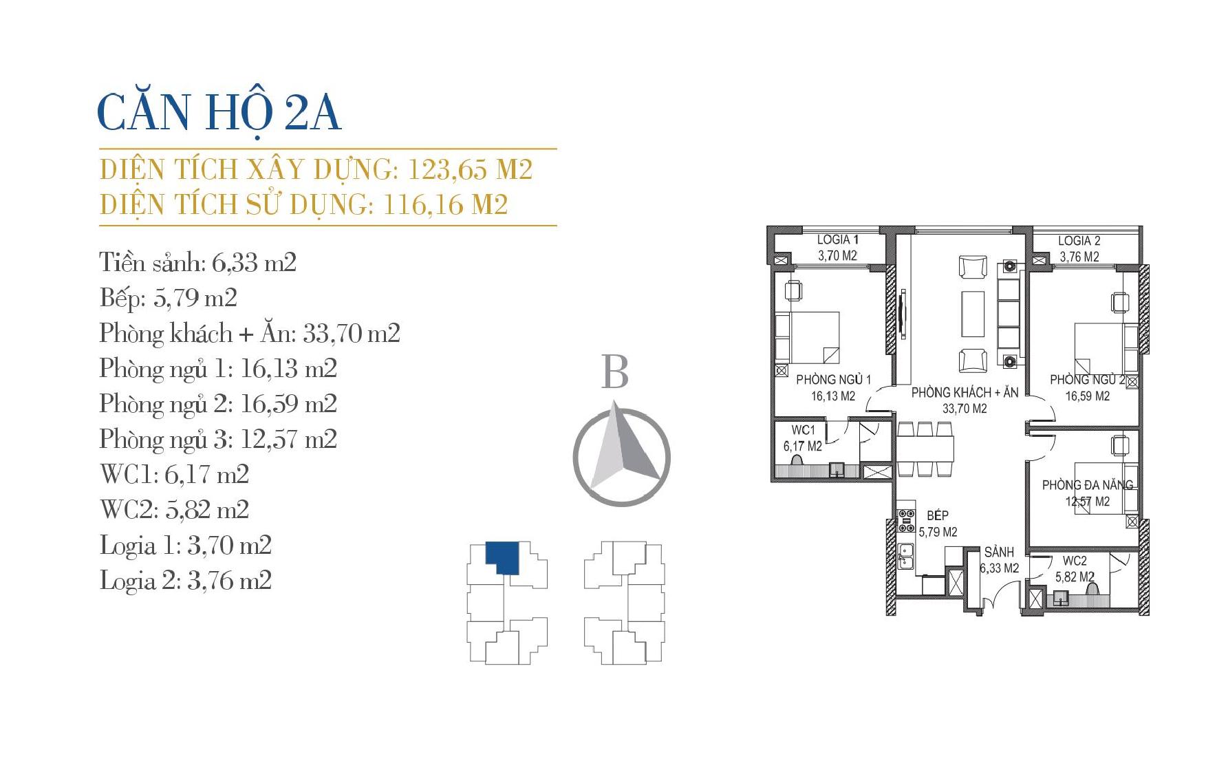 thiết kế căn hộ 2a chung cư sunshine center