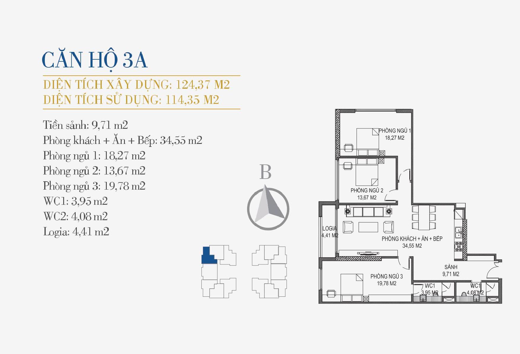 thiết kế căn hộ 3a chung cư sunshine center