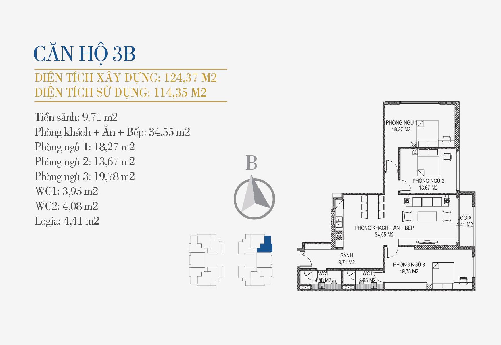 thiết kế căn hộ 3b chung cư sunshine center