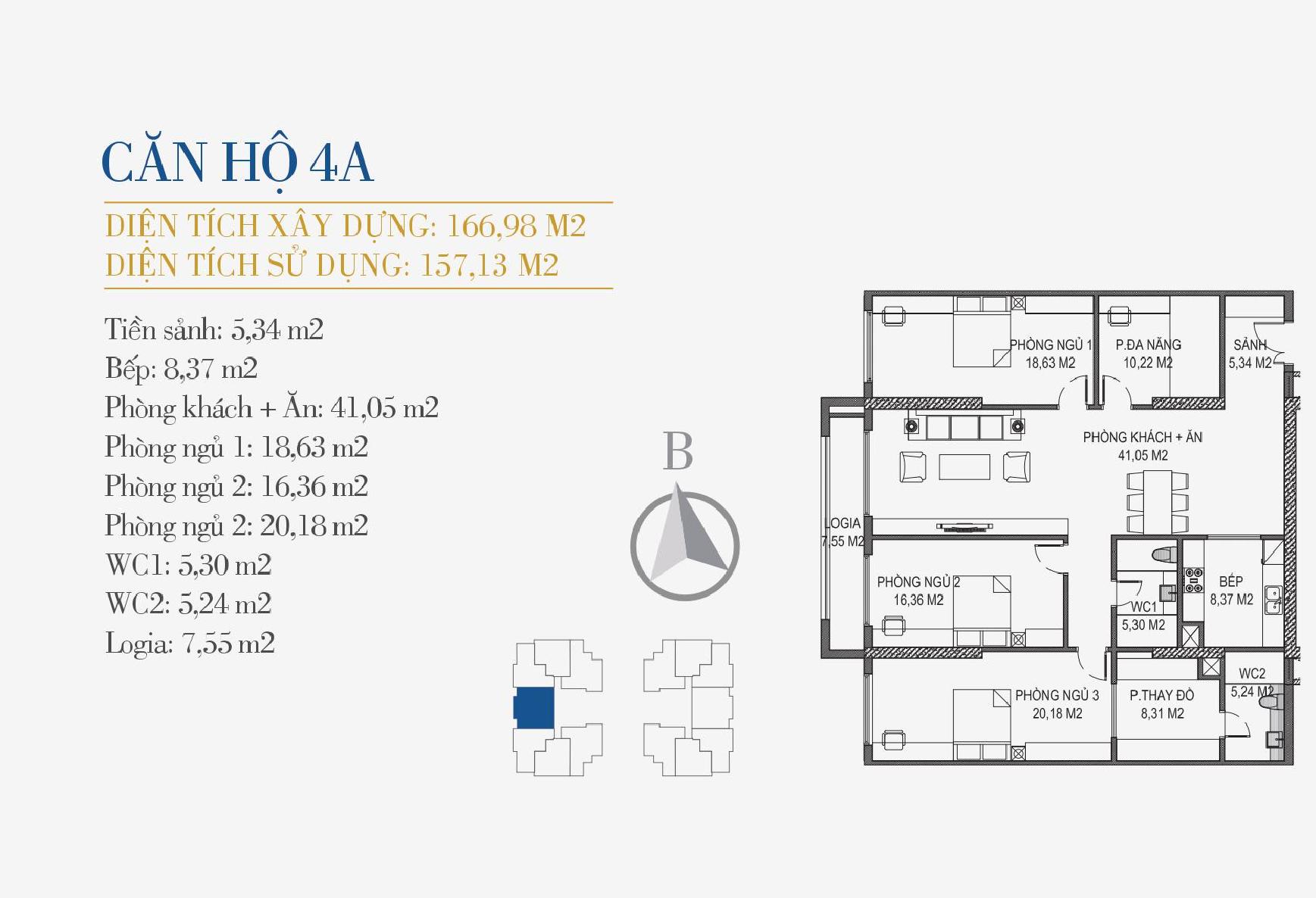 thiết kế căn hộ 4a chung cư sunshine center