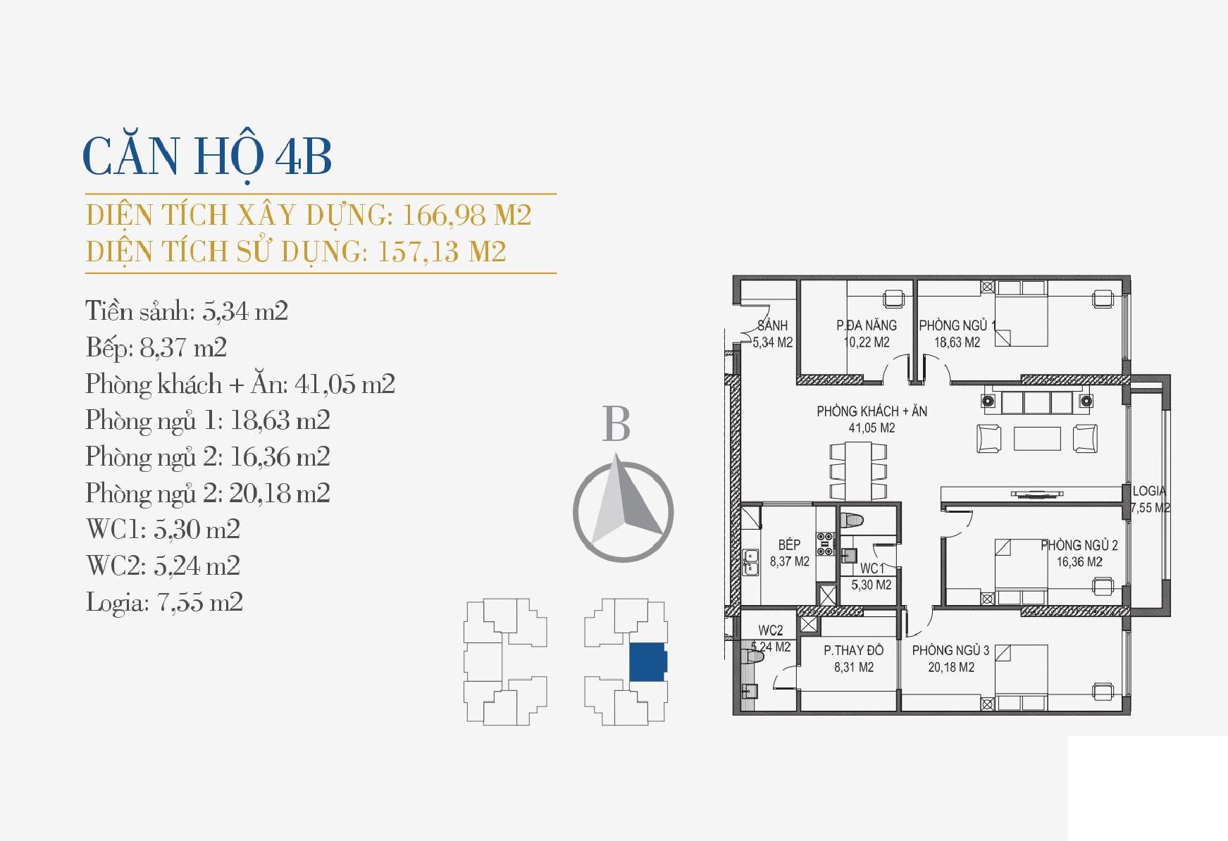 thiết kế căn hộ 4b chung cư sunshine center