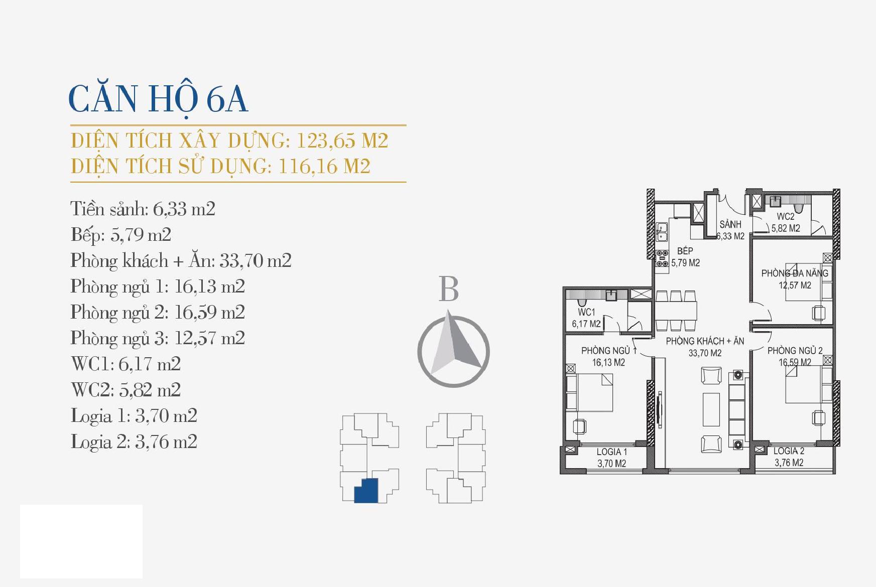 thiết kế căn hộ 6a chung cư sunshine center