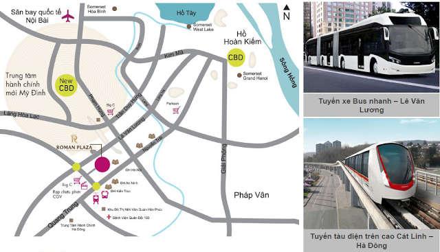 vị trí dự án chung cư roman plaza