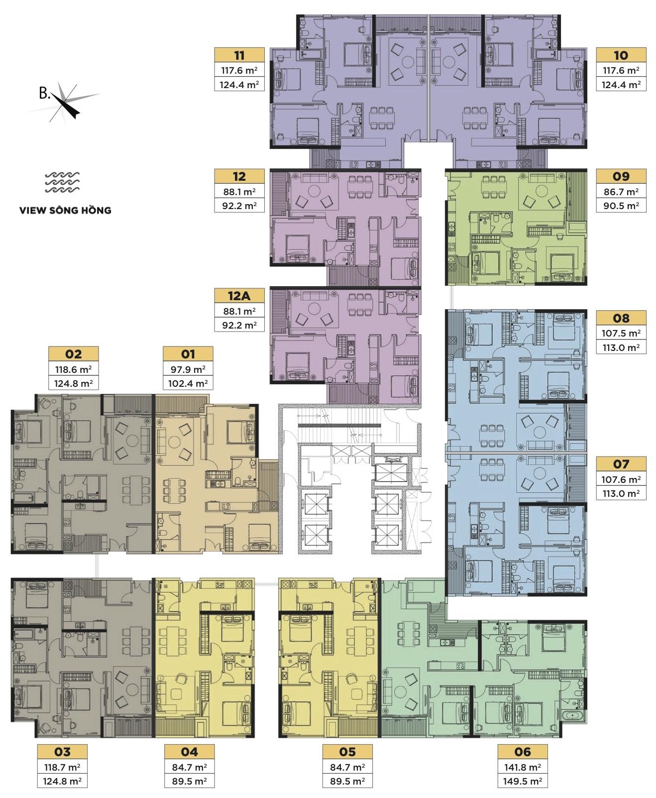 mặt bằng tòa t1 tầng 6 -16
