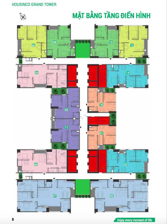 mặt bằng chung cư housinco grand tower