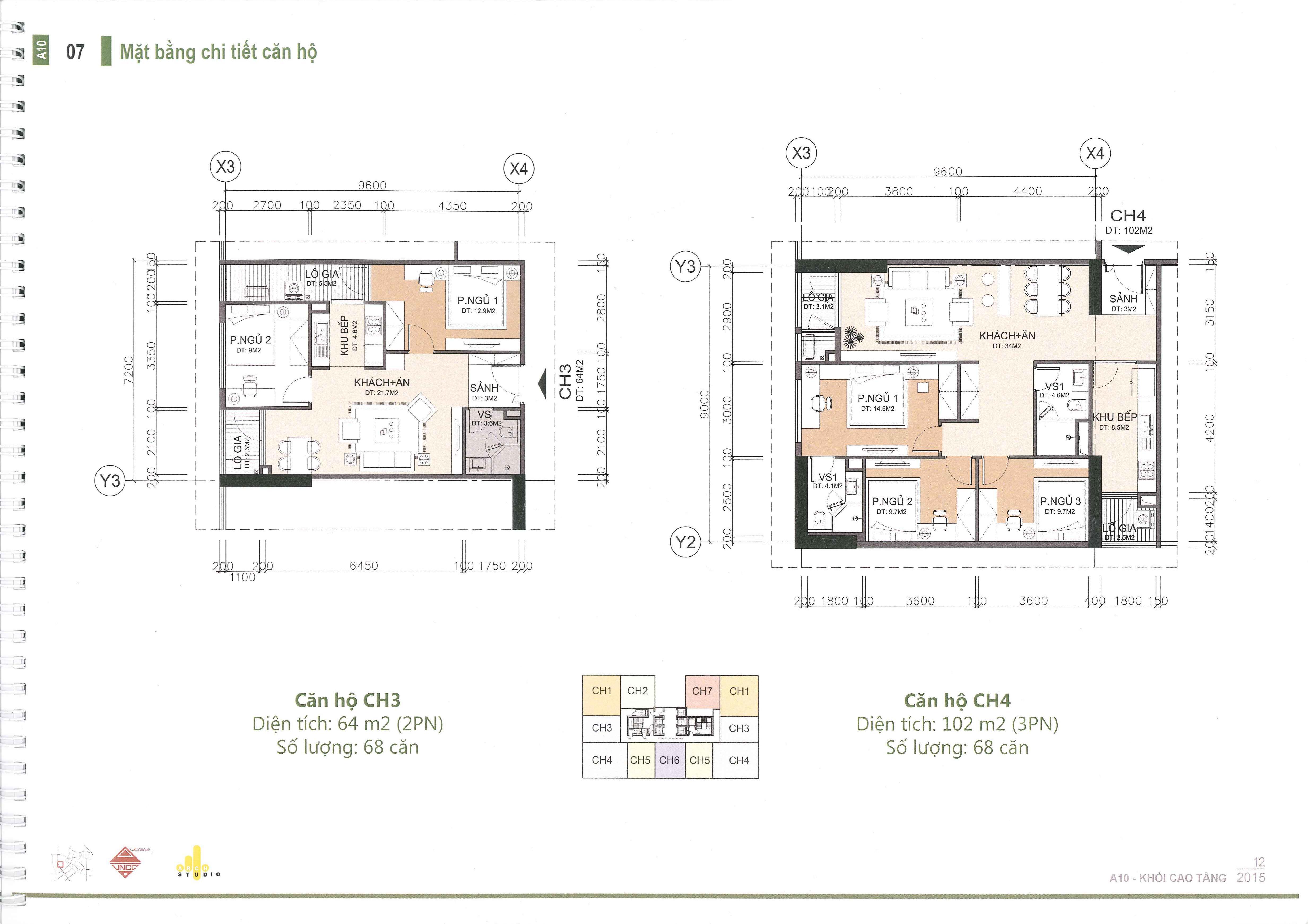 thiết kế căn hộ a10 nam trung yên căn ch3 và ch4
