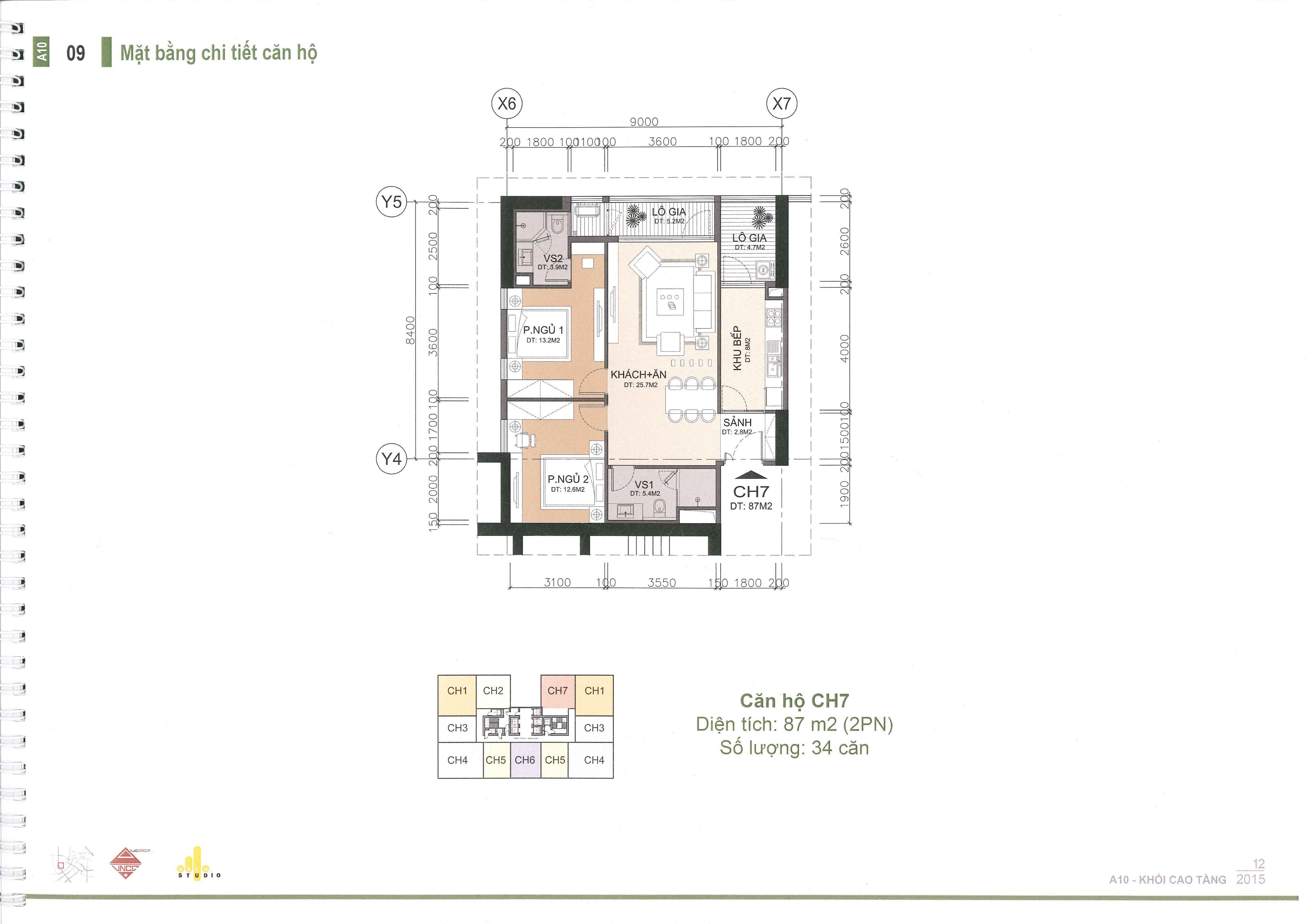thiết kế căn hộ a10 nam trung yên căn ch7