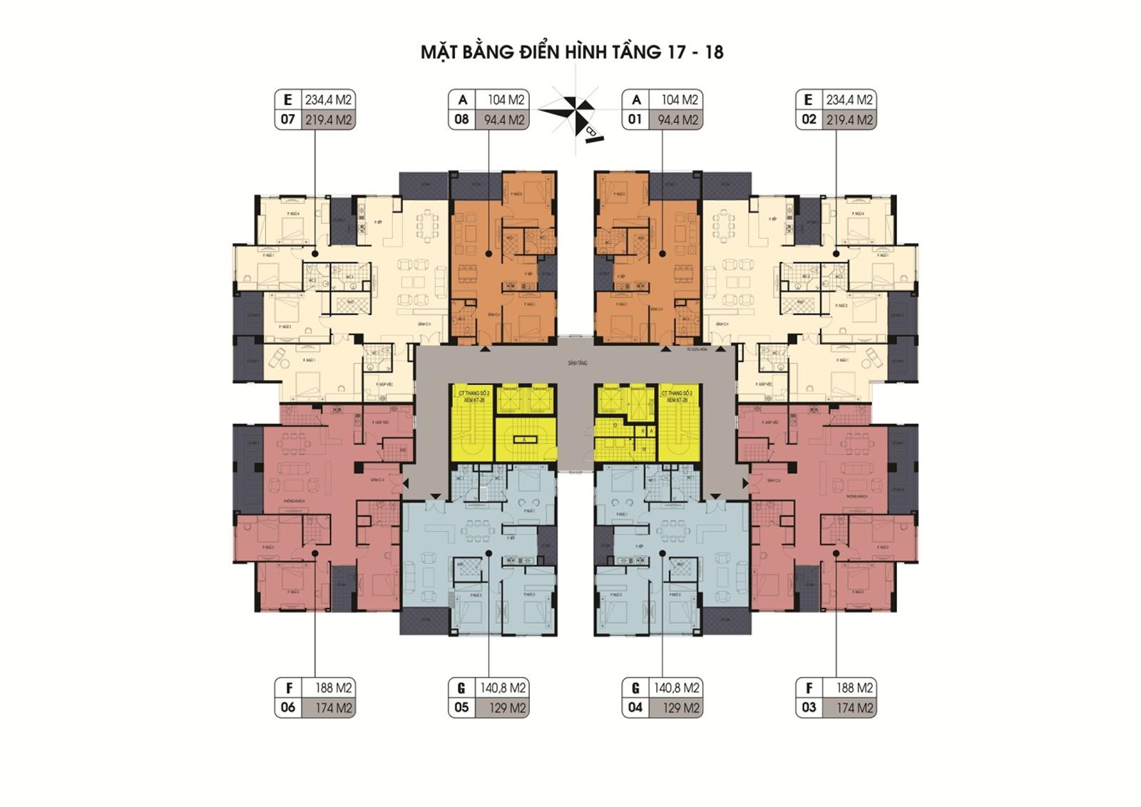 mặt bằng tầng 17 - 18 chung cư northern diamond
