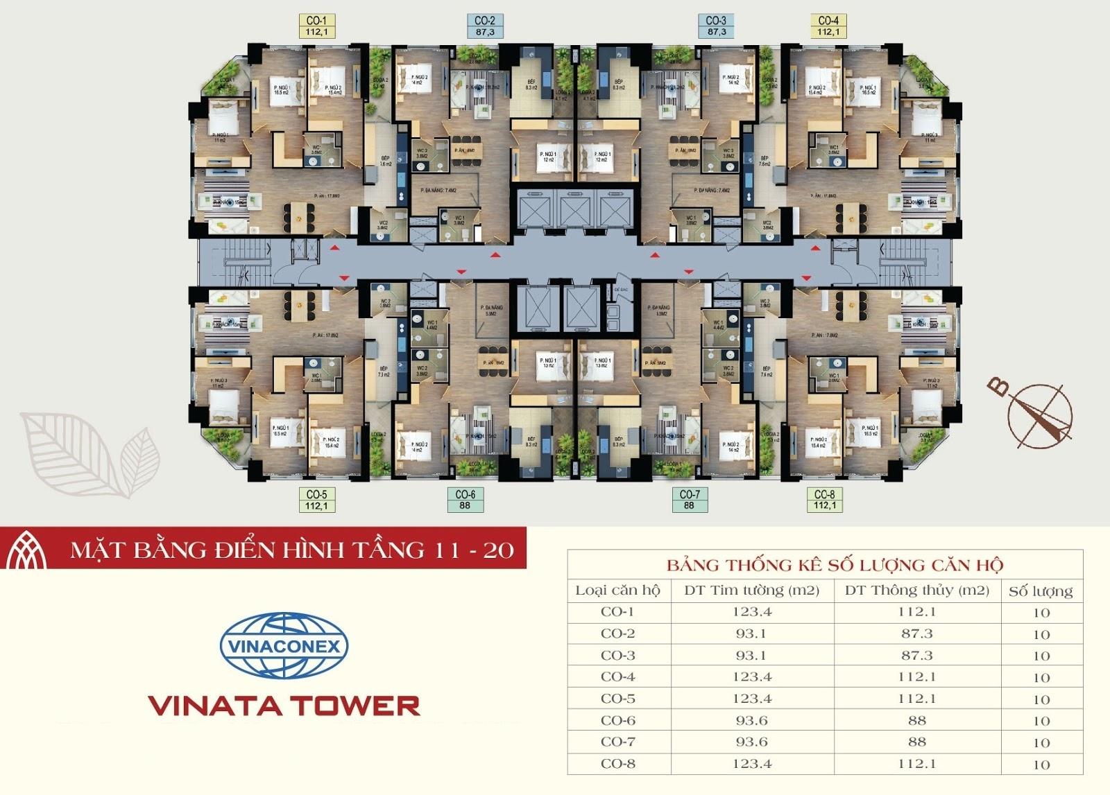 mặt bằng chung cư vinata tower tầng 11-20