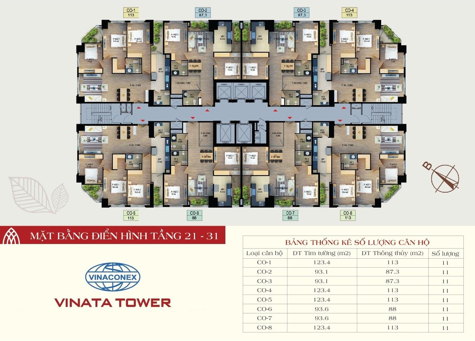 mặt bằng chung cư vinata tower tầng 21-31