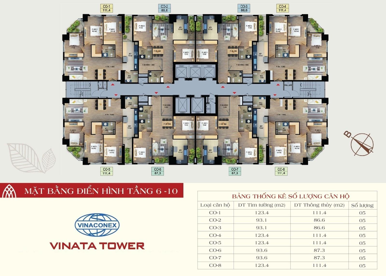 mặt bằng chung cư vinata tower tầng 6-10