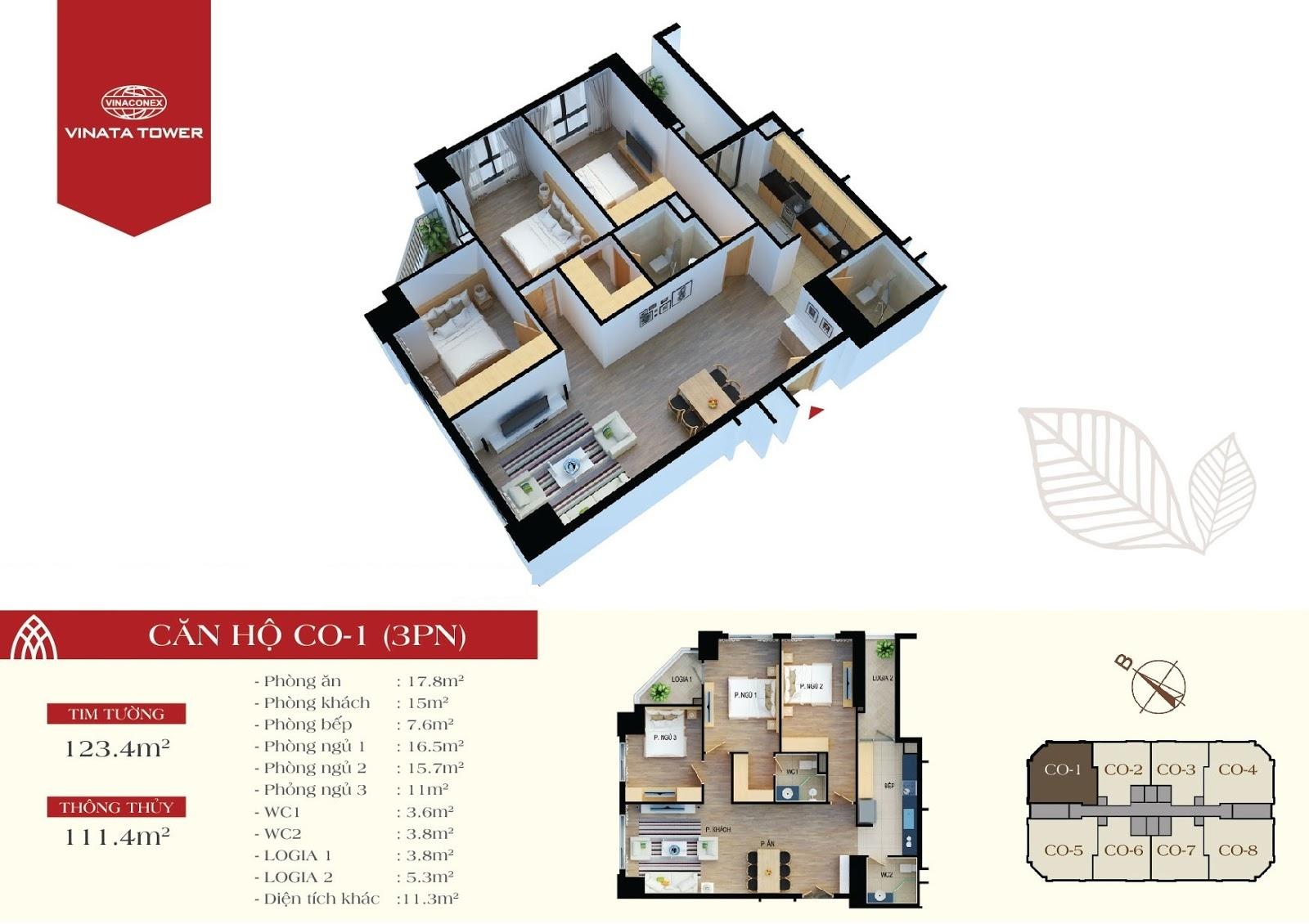 thiết kế vinata tower căn hộ CO1