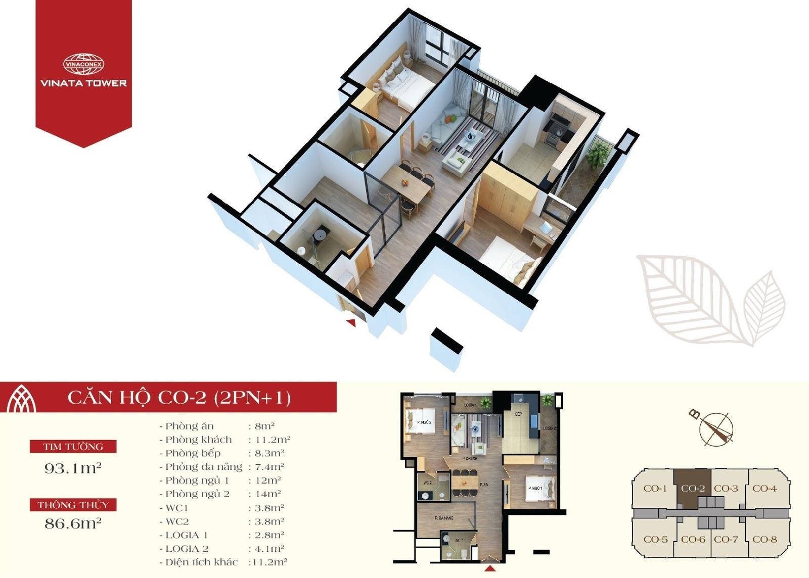 thiết kế vinata tower căn hộ CO2