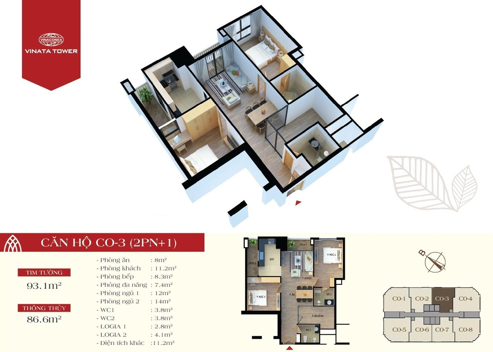 thiết kế vinata tower căn hộ CO3