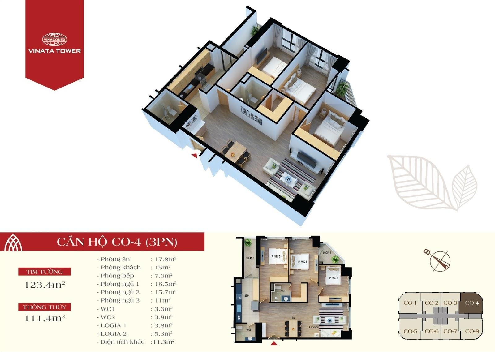 thiết kế vinata tower căn hộ CO4