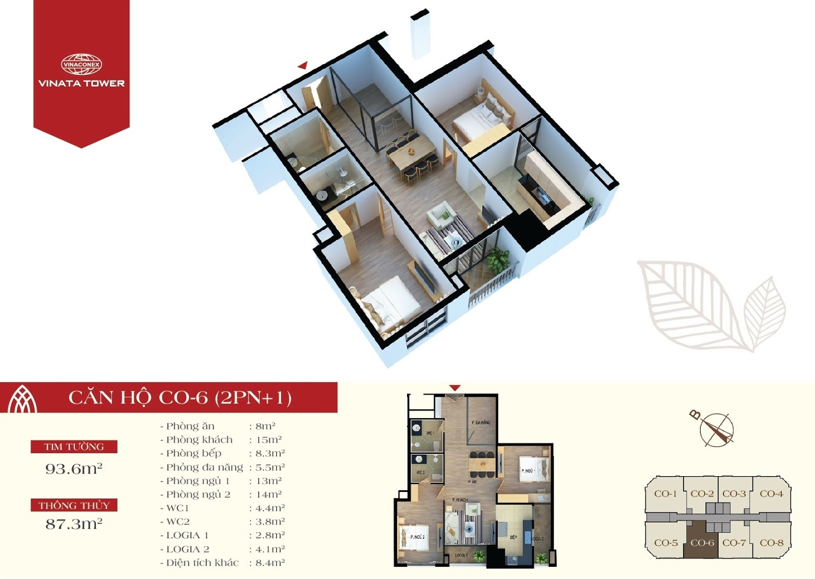 thiết kế vinata tower căn hộ CO6