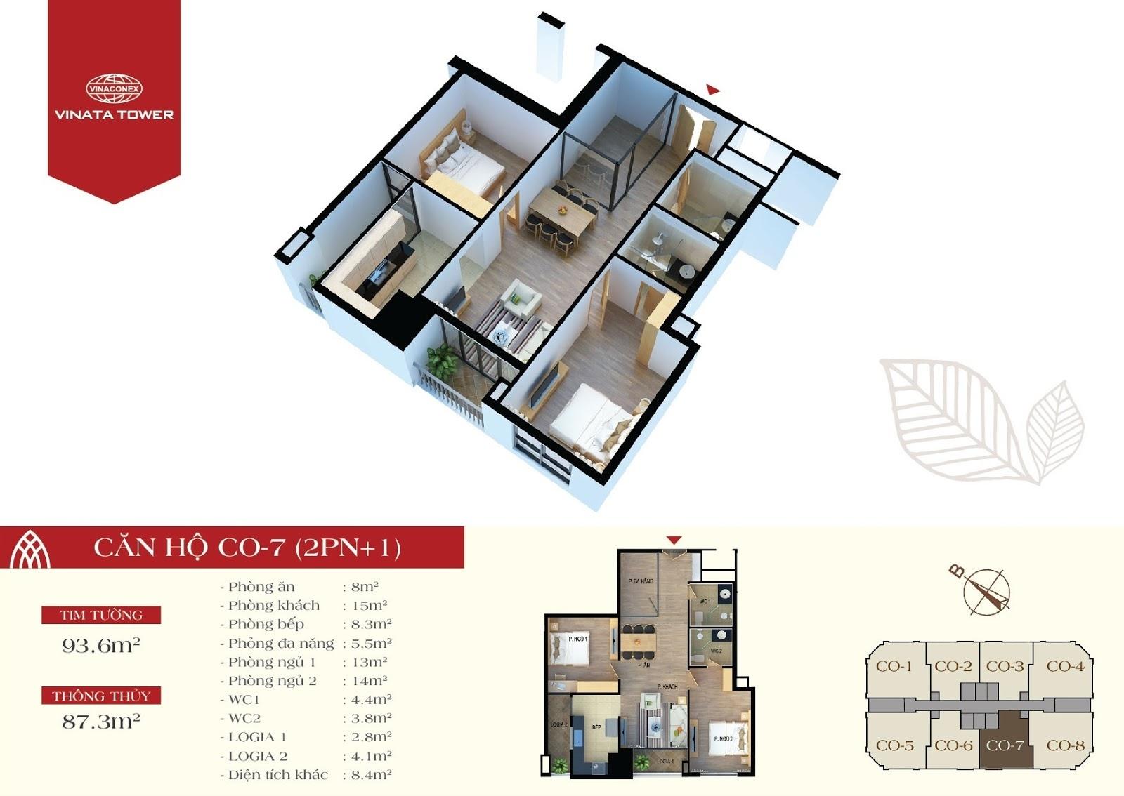 thiết kế vinata tower căn hộ CO7