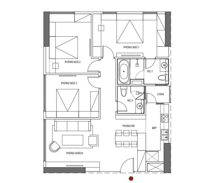 căn hộ 3 phòng ngủ sunshine city 2
