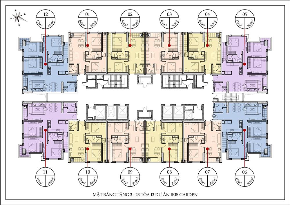 Mặt bằng điển hình toà I3 chung cư Iris Garden