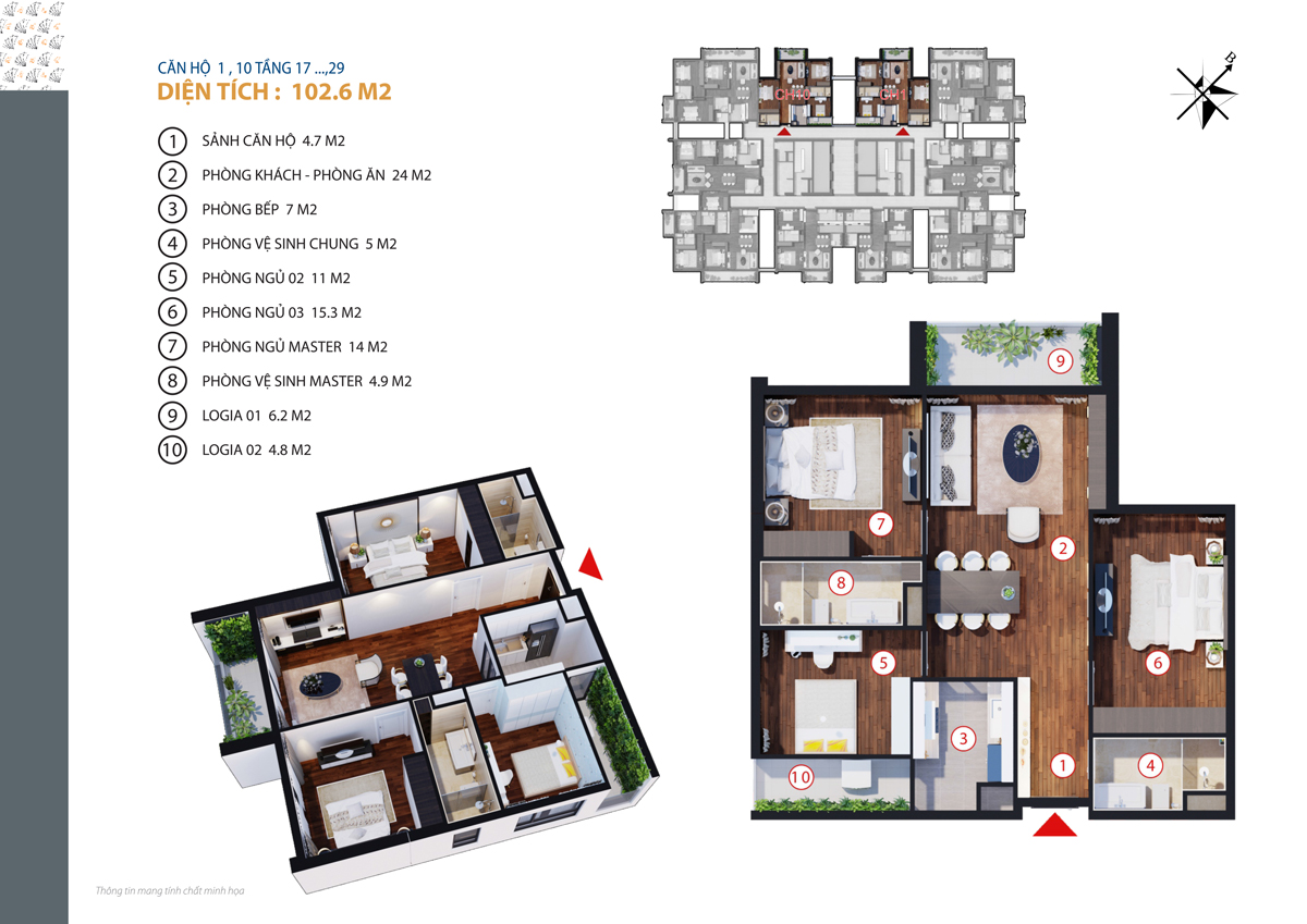 thiết kế căn 1,10 chung cư gold tower tầng 17-29