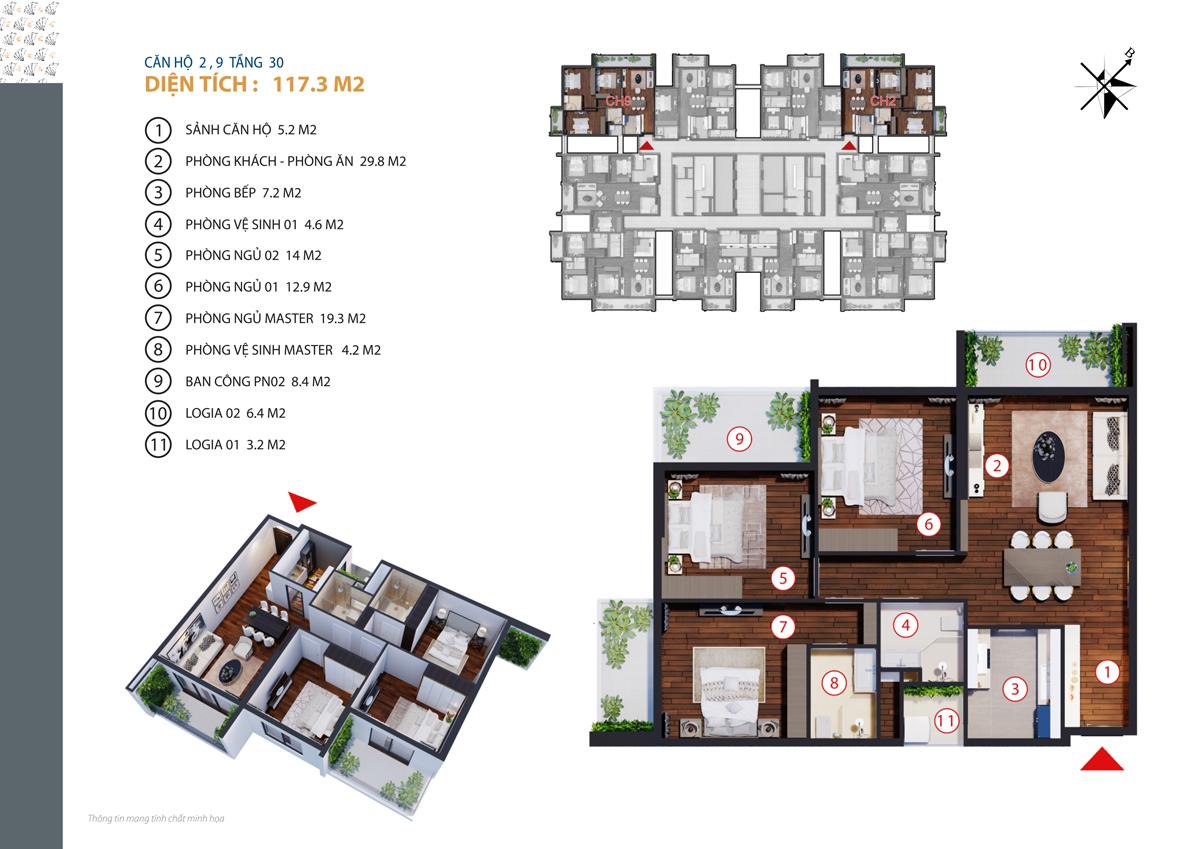 thiết kế căn 2,9 chung cư gold tower tầng 30