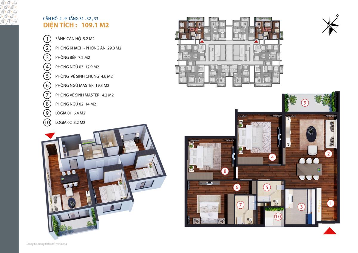 thiết kế căn 2,9 chung cư gold tower tầng 31-33