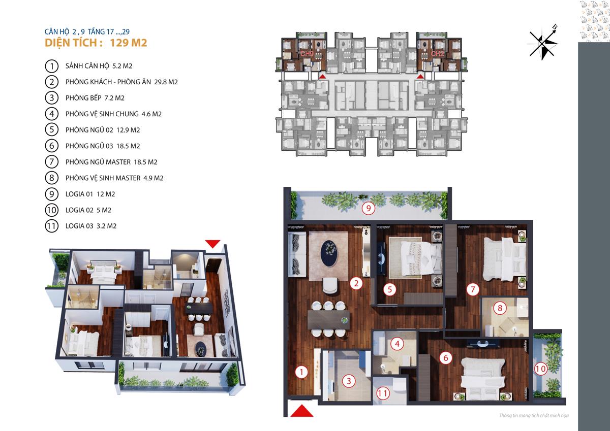 thiết kế căn 2,9 chung cư gold tower tầng 17-29