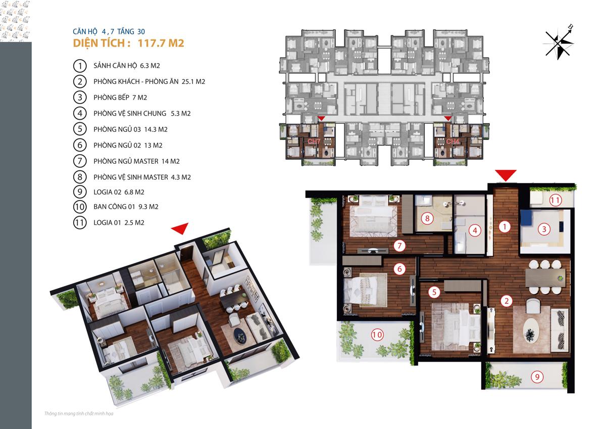 thiết kế căn 4,7 chung cư gold tower tầng 30