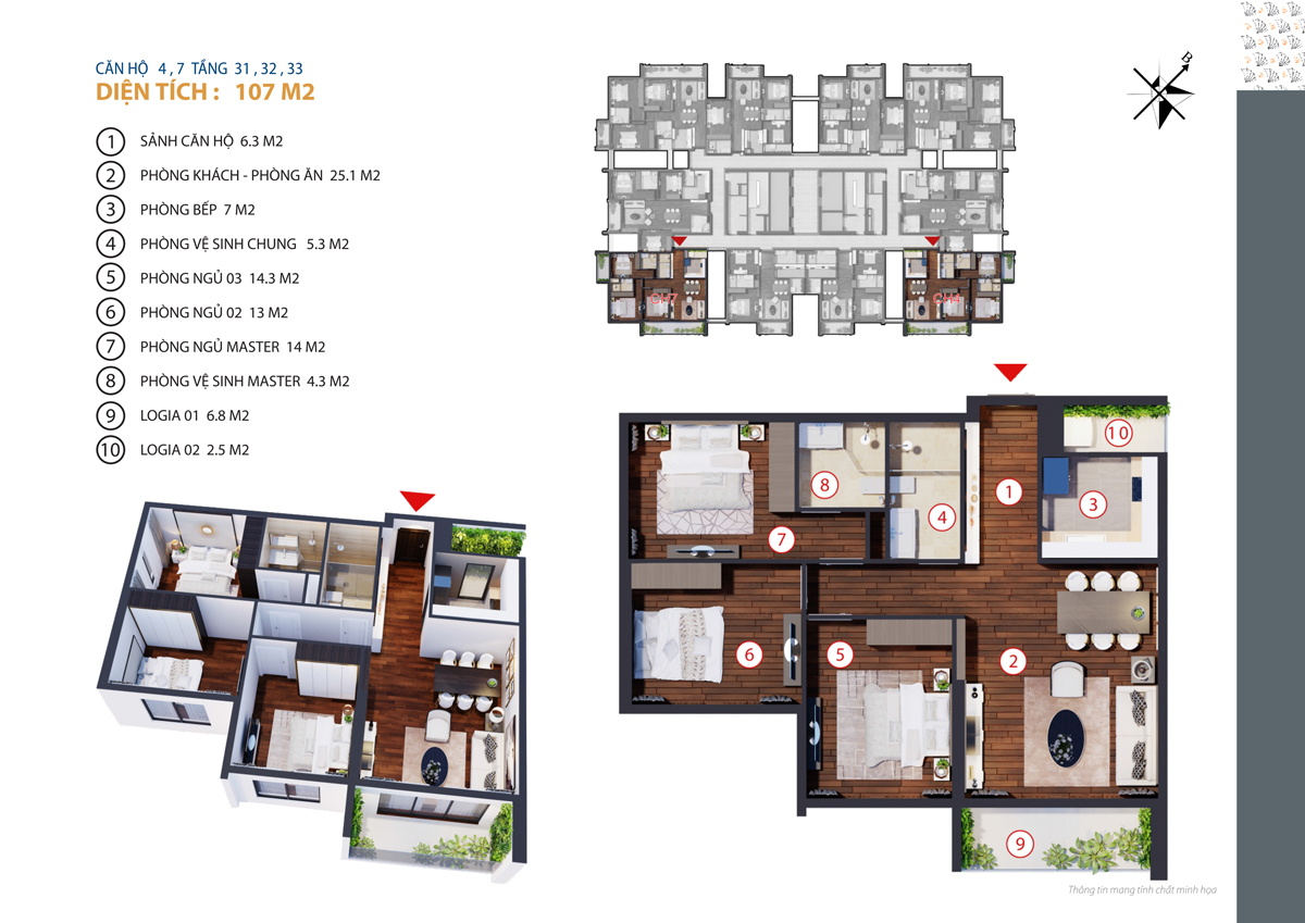 thiết kế căn 4,7 chung cư gold tower tầng 31-33