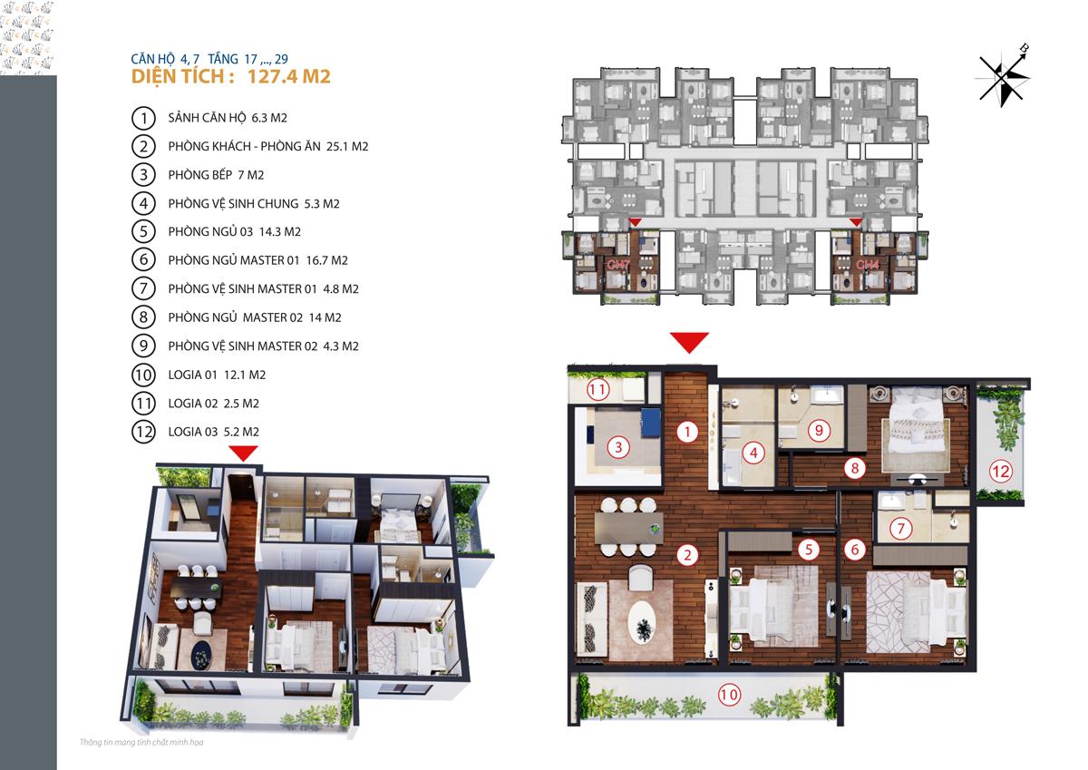 thiết kế căn 5,6 chung cư gold tower tầng 17-29
