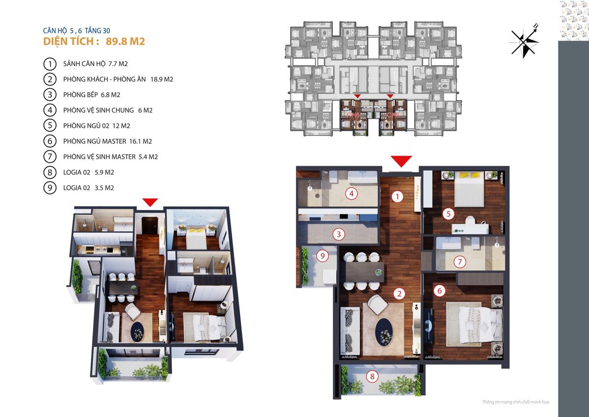 thiết kế căn 5,6 chung cư gold tower tầng 30