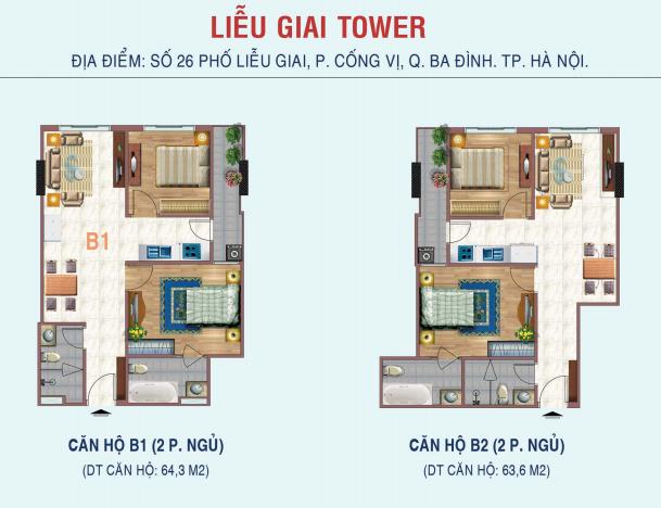 căn 2 ngủ chung cư liễu giai tower