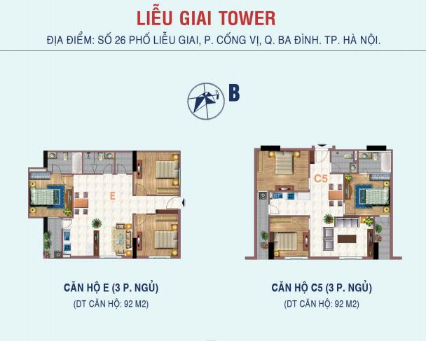 căn 3 ngủ chung cư liễu giai tower