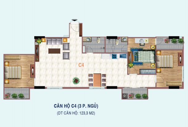 căn 4 ngủ chung cư liễu giai tower
