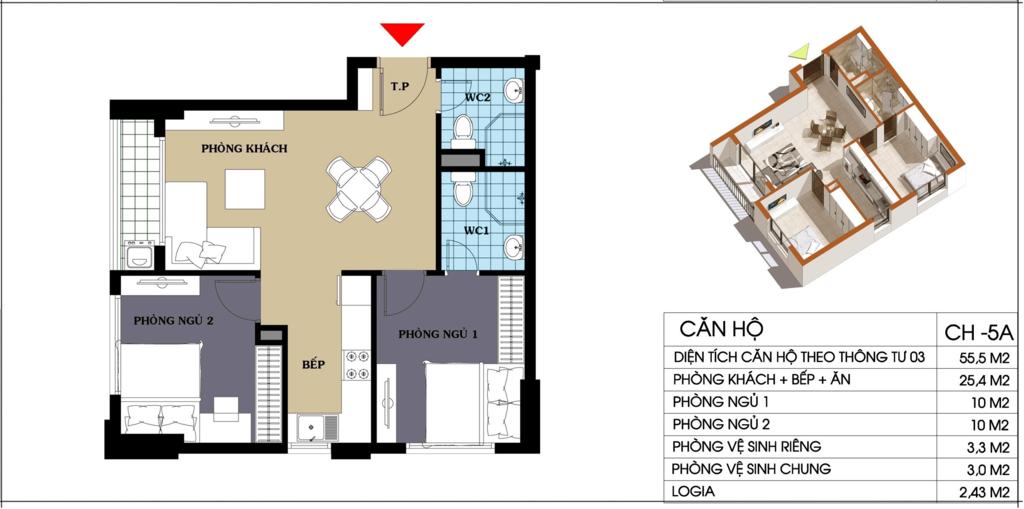 căn hộ 55.5 m2 chung cư @home