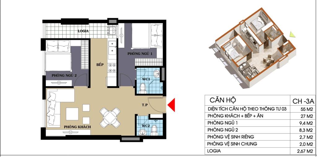 căn hộ 55 m2 chung cư @home