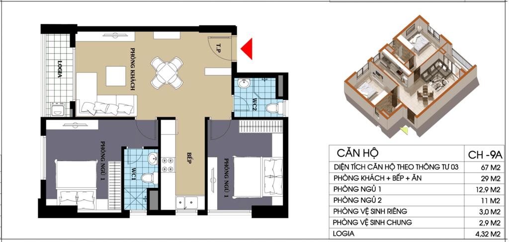 căn hộ 67 m2 chung cư @home