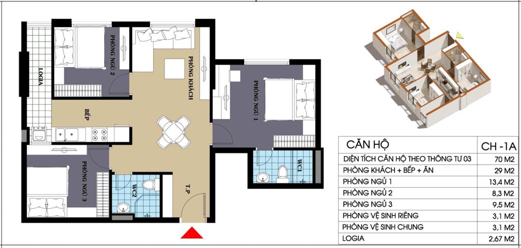 căn hộ 70 m2 chung cư @home