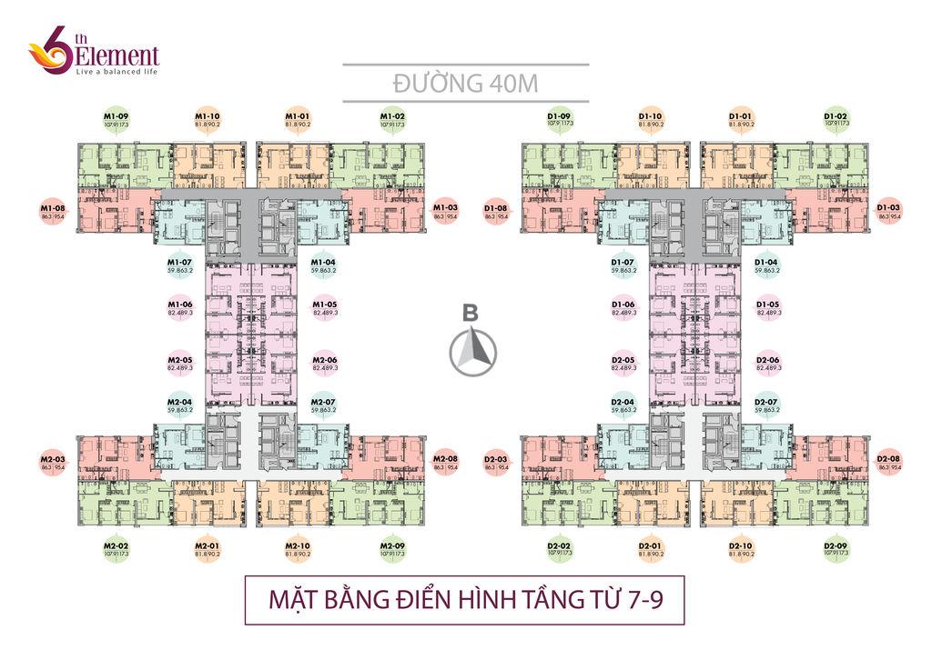 mặt bằng chung cư 6th element tầng 7 - 9